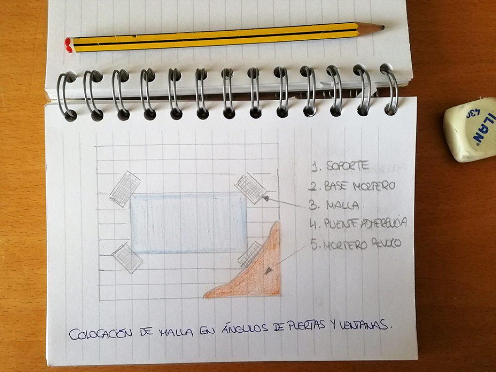 Croquis donde se muestra cómo se coloca una malla en los ángulos de las ventanas y puertas