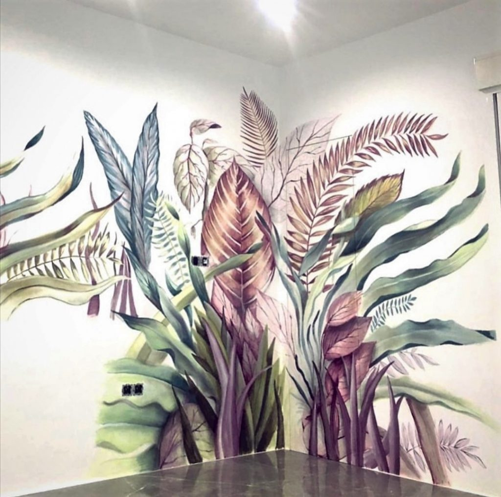 Mural de vegetación en la pared