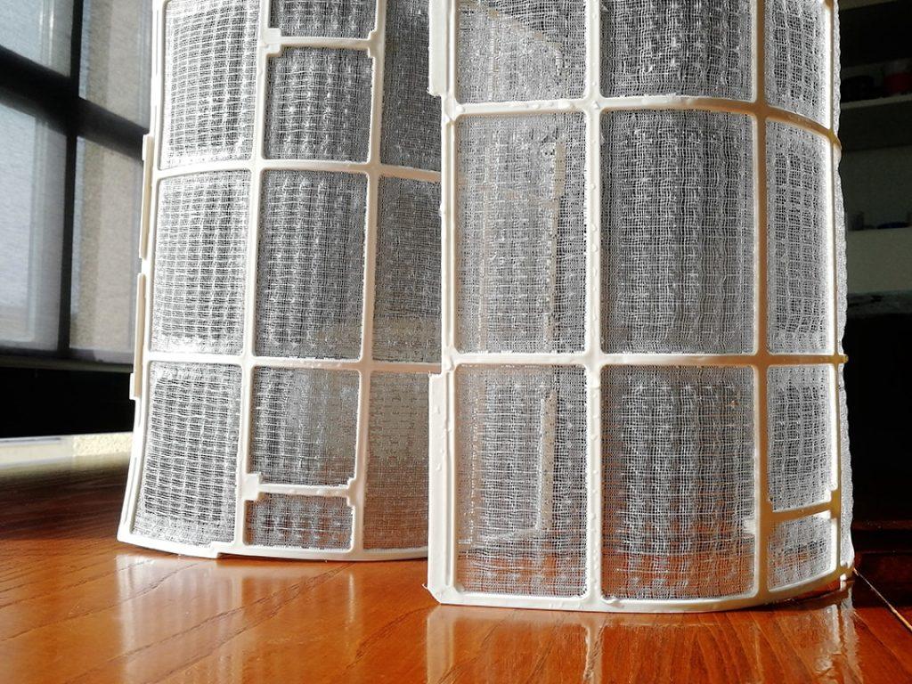 Filtros del split puestos a secar