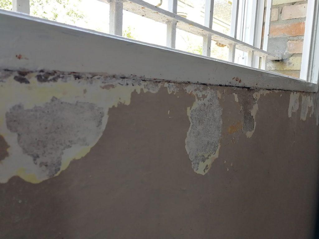 Pared con desconchones por humedades, necesita una reparación urgente y pintura.