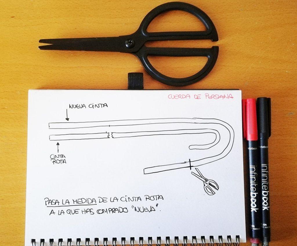 Forma de medir y cortar la nueva cinta de persiana